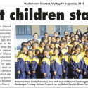 Oudtshoorn Courant article. Zeekoegat Children Stand Proud!