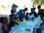 Zeekoegat children receive Soccer Balls.